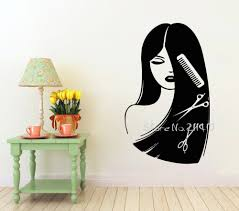 compare prices on beauty salon 3d wall mural online shopping buy 3d poster beauty long hair salon wall decal barbershop wall stickers window glass decoration home decor