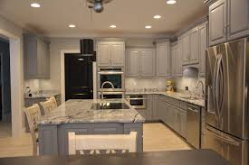 kitchen grey cabinets viscon white granite and black interior