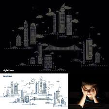 nightscape glow in the dark wall decals wallcandy arts nightscape glow in the dark wall decals