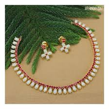 ruby stones designer gold plated finish pearls necklace set buy online