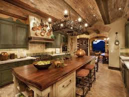interior tuscan kitchen design ideas with kitchen track lighting italian kitchen design with black rustic iron chandelier over kitchen island with wooden countertop with