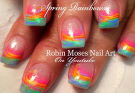 spring nail art for beginners easy rainbow nail art design