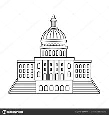 united states capitol icon in outline style isolated on white