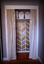 How To Make A Closet With Curtains Love This Closet Cool Metallic Herringbone Paint Job Paired With