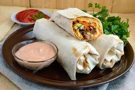 arabic wrap shawarma middle east arabic dish of pita lavash stuffed with