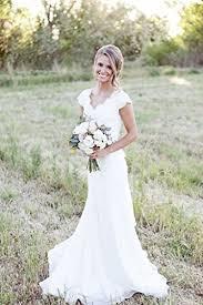 spbridal lace v neck cap sleeves mermaid wedding dress for bride
