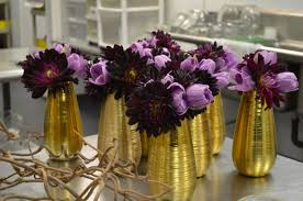 Gold Vases For Weddings Gold Vases With Purple Flowers Evantine Design Floral Studio For