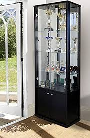 DOUBLE GLASS DISPLAY CABINET WITH STORAGE Amazoncouk Kitchen - Kitchen display cabinet