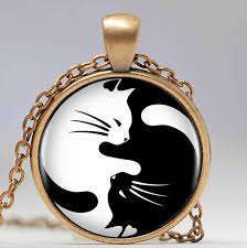 black cat pendant necklace images Vintage yin yang cats pendant necklace fancy feline fans jpg