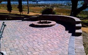 Cobblestone Ideas by Elevated Tumbled Cobblestone Concrete Paver Patio With Tumbled