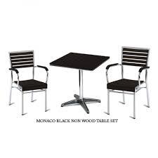 Black Metal Bistro Table Monaco Outdoor Bistro Table Chair Sets In Black Cafe