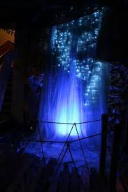 painted waterfall with paper mache rock and fog machine