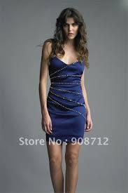 top designer style mini sheath sleeveless navy satin cocktail