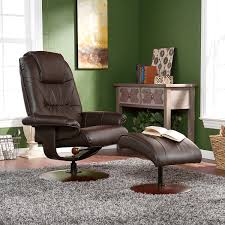 Burgundy Leather Chair And Ottoman Amazon Com Bonded Leather Recliner And Ottoman Brown Kitchen