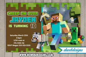 minecraft birthday invitations minecraft birthday invitations