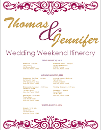wedding itinerary template for guests fig and gold wedding itinerary template template on