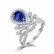sapphires wedding rings images 14k white gold royal diamond genuine sapphire wedding ring jpg