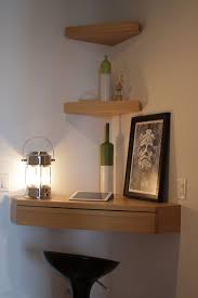 small desk with drawers and shelves floating corner shelves love the corner pull out drawer for the