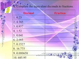 decimal numbers part 1