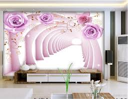 custom any size 3d space purple rose mural background wall mural see larger image