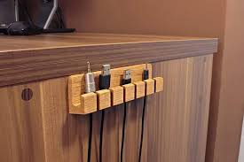 Wood Desk Accessories And Organizers The Handmade Wooden Desk Cable Organizer I Want Pinterest