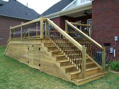 horizontal deck skirting corner stair with horizontal skirting