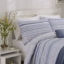 hadlow seersucker stripe blue duvet cover set dove mill