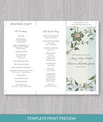 tri fold invitation template watercolor flowers tri fold program template print