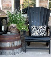 lowes outdoor side table love this barrel planter flipped upside down as an outdoor side