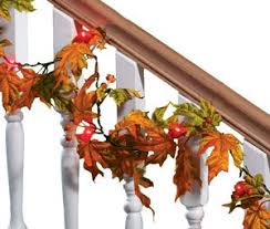 maple leaf garland with lights amazon com maple leaf lighted garland autumn leaf garland