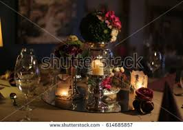 candle arrangements christmas table decorations candle holders centerpiece stock photo