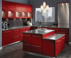 very cool small kitchen design showing off modern red l shaped f
