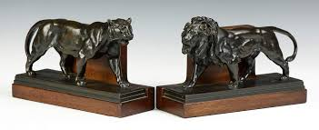 bookends lion antoine louis barye 1795 1875 bronze lion bookends