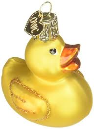 world rubber ducky glass blown ornament