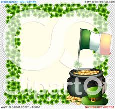 clipart of a st patricks day pot of gold with an irish flag