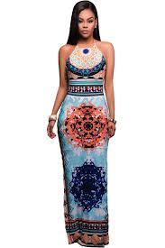 light blue halter maxi dress light blue african pattern low back halter maxi dress mb61458
