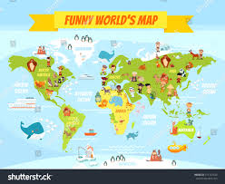 Atlantic Ocean On A World Map by Funny Cartoon World Map People Various Stock Vector 315147329