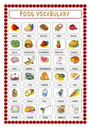 food vocabulary and worksheet 3 pages