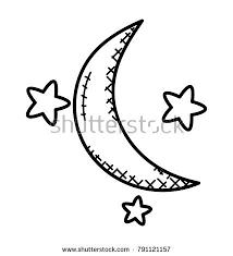 sky crescent moon doodle stock vector 791121157