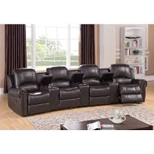 walden four seat brown top grain leather recliner home theater