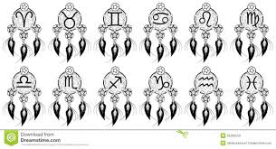 set of zodiac signs on banishes thoughts stock vector image