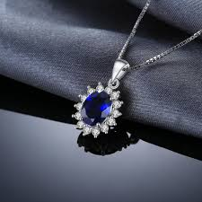 sapphire sterling silver necklace images Oval 3 2ct blue created sapphire 925 sterling silver necklace on jpg
