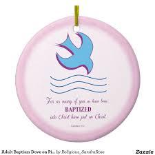 baptism christmas ornament baptism dove on pink sided ceramic christmas