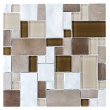 shop allen roth metal elements cubes mosaic glass and metal wall