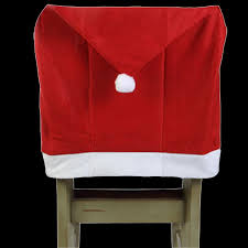 Santa Chair Covers Christmas Red Santa Hat Cap Chair Cover Holiday Party Decoration