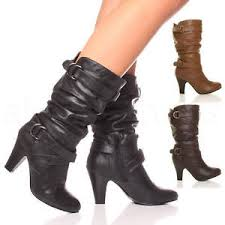 s slouch boots canada womens buckle block mid high heel zip ruched slouch calf