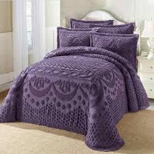 Purple Coverlets King Size Bedspread Chenille Dark Purple Bedspreadss Com