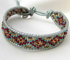 leather bracelet wrap make images Native american indian leather wrap bracelet in blue jpg