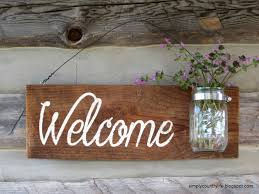 simply country rustic barnwood jar welcome sign