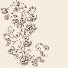 tatuaje de henna paisley flores y enredaderas doodles vector